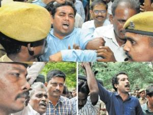 (Top) Roopesh, the leader of the Western Ghats Zonal Committee of the CPI (Maoist) and fellow Naxals raise slogans for tribal rights while being brought to the court in Coimbatore on Tuesday. Photos: M. Periasamy, J. Manoharan
